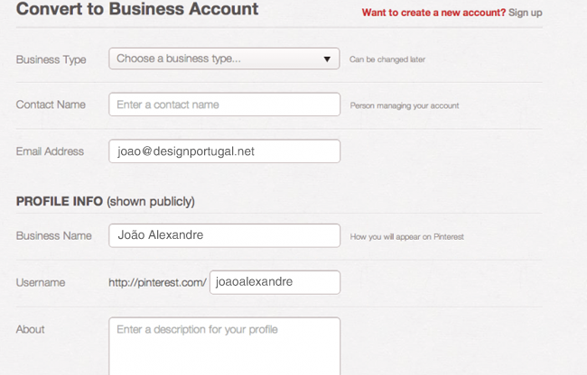 Perfil pessoal - converter para perfil empresarial no Pinterest
