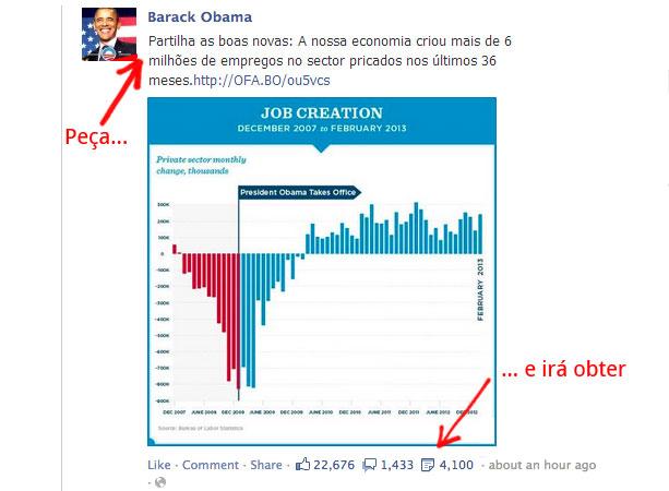 exemplo post Facebook Obama