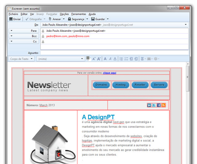 newsletter html aberta no thunderbird