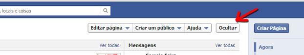 Ocultar painel de controlo facebook