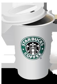 cafe starbucks num copo de plastico