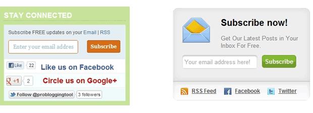 caixa de subscrição em blog