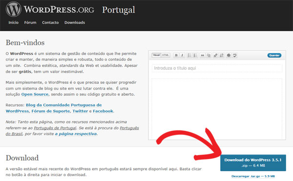 Download wordpress arquivo