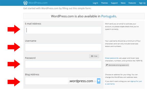 Página de inscrição WordPress
