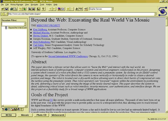Mosaic, um dos primeiros web browsers