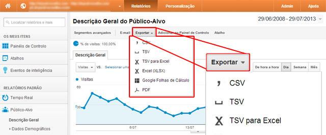 exportar analiticos do Google