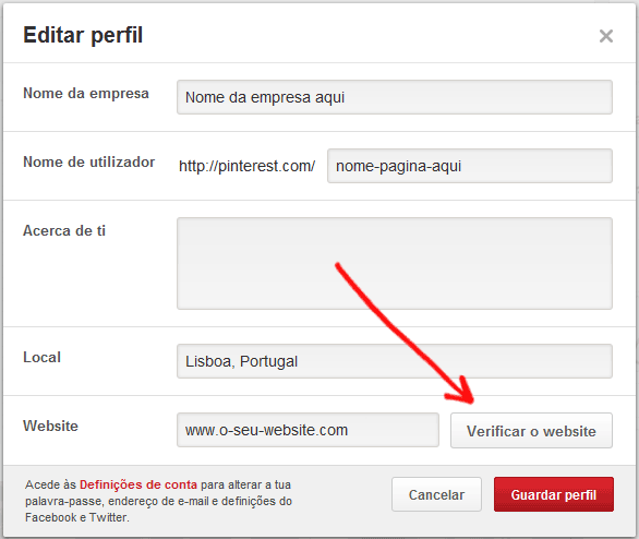 Verificar website no Pinterest