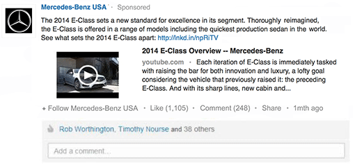 Sponsored Update da Mercedes no LinkedIn