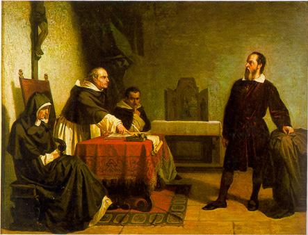 Galielo Galilei defendendo-se perante a Inquisição