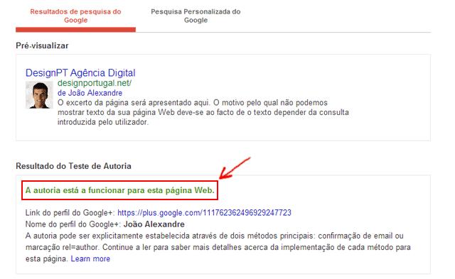 autoria google+ validação