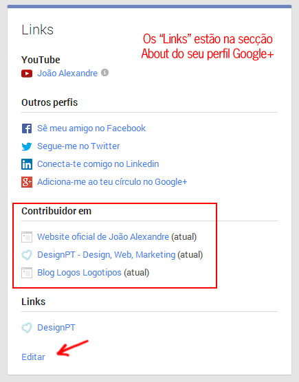 "Secção about ""Links"" no Google+"