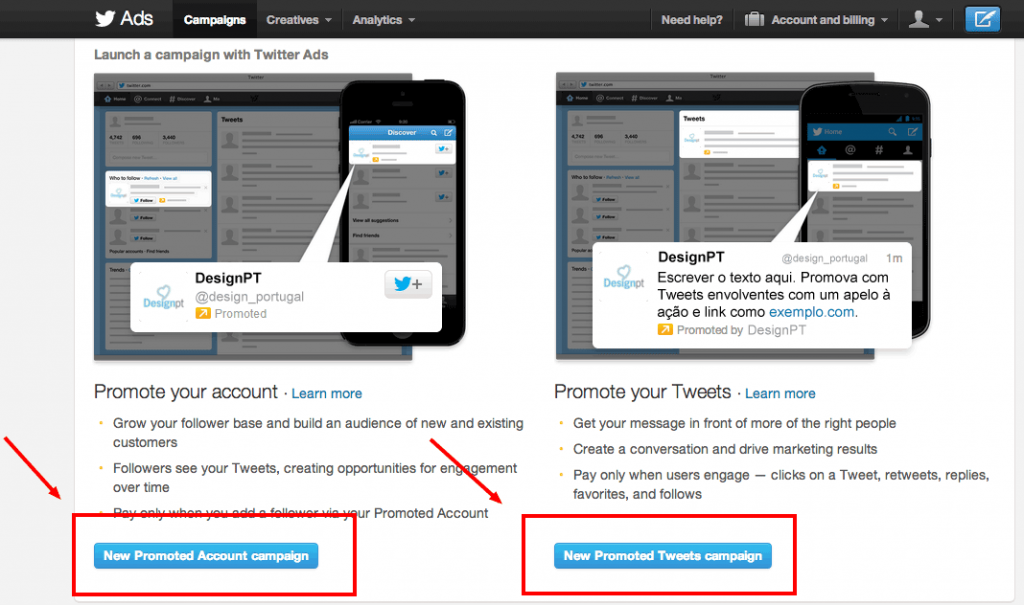 Tipos de anúncio: conta promovida ou tweet promovido