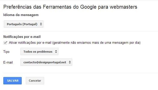 Preferências das Ferramentas do Google para webmasters.