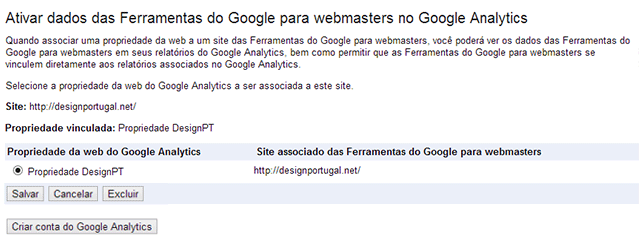 Ligar analytics a ferramentas webmaster