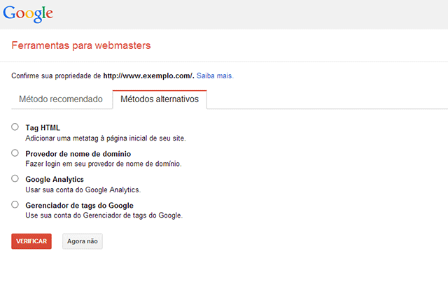 Verificação website webmaster tools alternativo