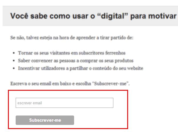 Caixa de subscrição newsletter numa homepage (exemplo)