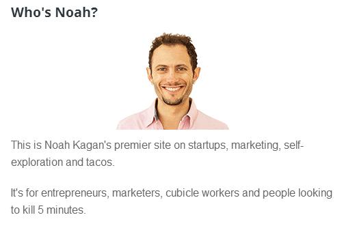 Noah Kagan, descrição resumida de quem ele é e o que ele faz.
