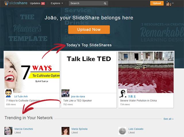 Slideshare homepage