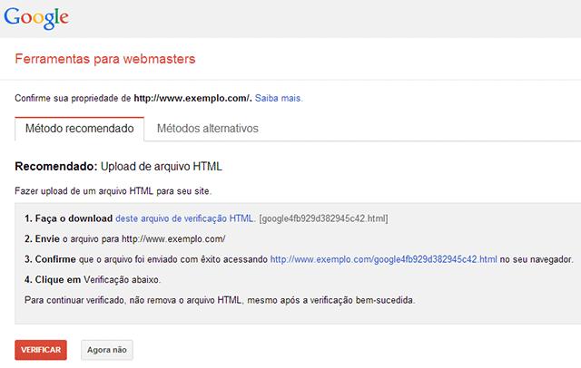 Verificação website webmaster tools