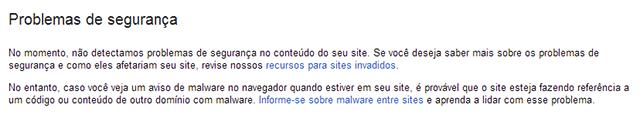 Problemas segurança webmaster tools
