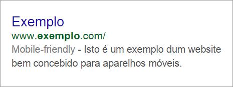 Mobile friendly website nos motores de busca