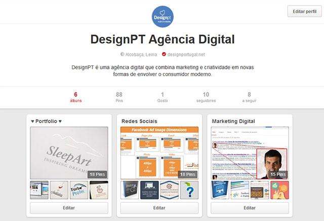 Perfil Pinterest DesignPT