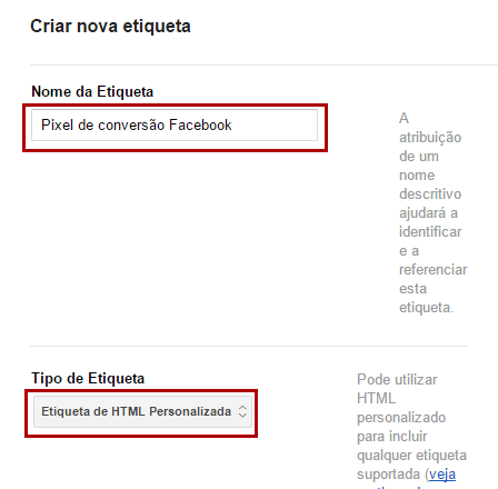 Criar etiqueta para pixel de conversão Facebook