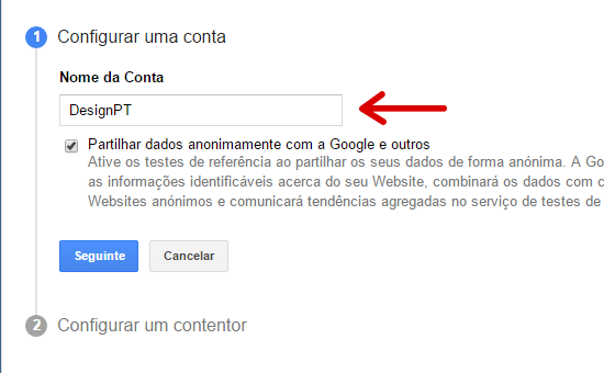 Configurar conta no Google Tag Manager