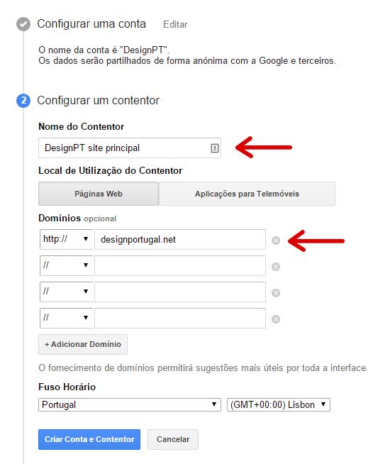 Criar contentor no Google Tag Manager