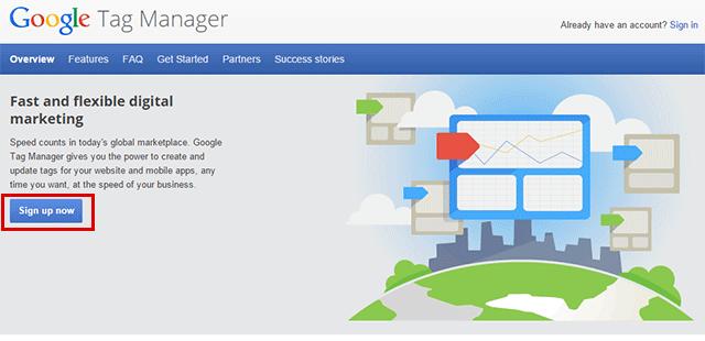 Inscrição no Google Tag Manager