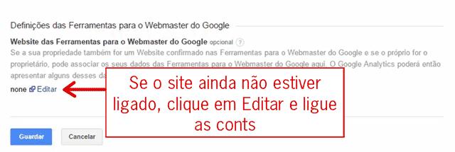Google Analytics com Ferramentas do Google para Webmaster