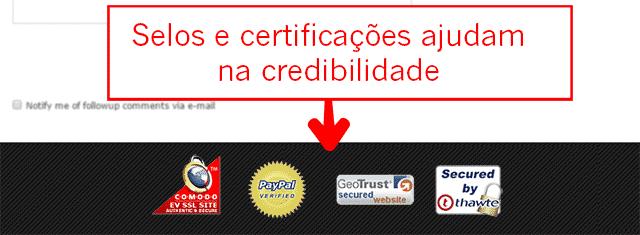 Selos e certificações no rodapé