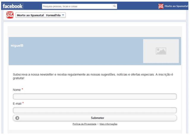 Formulário e-goi separador Facebook