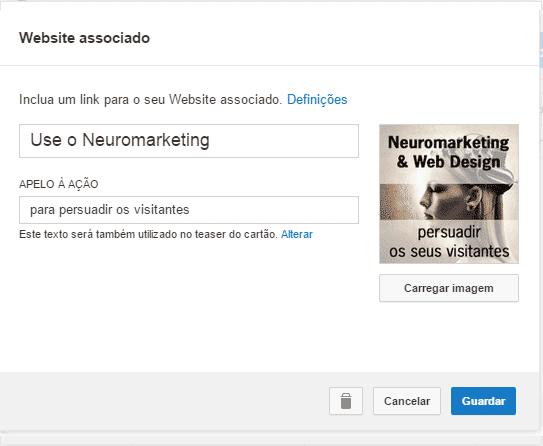 Cartão Youtube - website associado