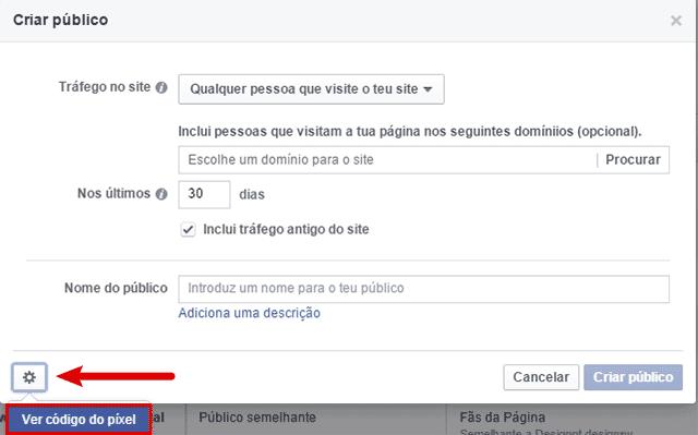 Código de pixel Facebook em Criação de Público