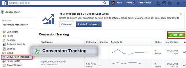 Conversion Tracking nos anúncios Facebook