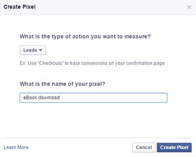 Criar pixel conversão Facebook (lead)