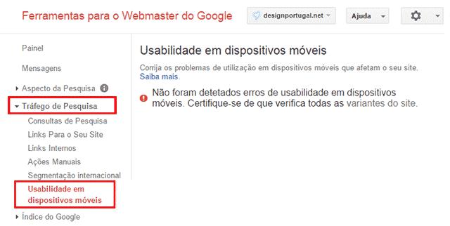 Usabilidade em dispositivos móveis (no Google Webmaster Tools)