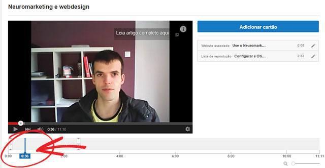 Ajustar tempo de início cartão youtube