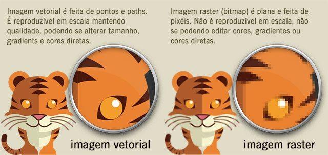 Diferença imagem vetor e raster