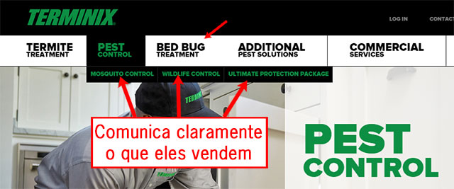 Website de controlo de pragas