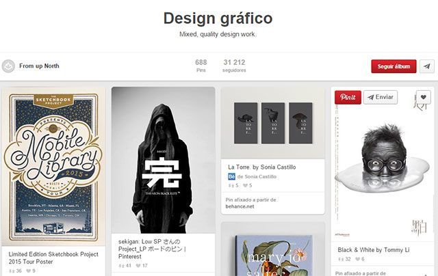 Álbum Pinterest design gráfico