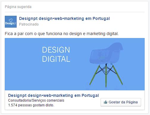 Anúncio de gostar de pagina Facebook
