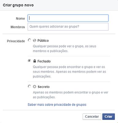 Opções criação grupo facebook