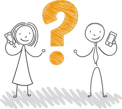 Rapaz e rapariga com símbolo de pergunta