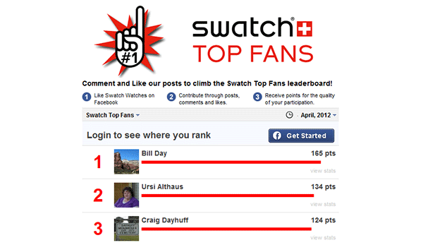 Top fans facebook Swatch