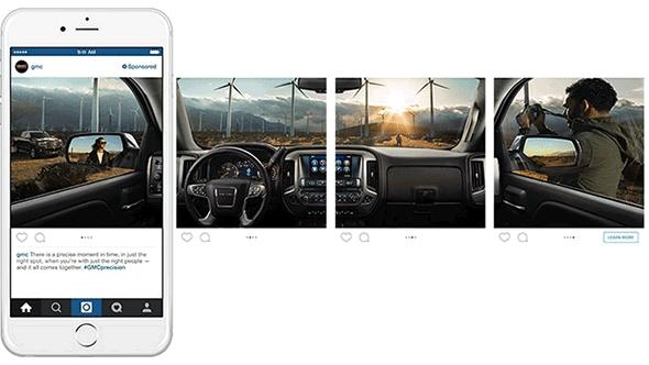 Anúncio carrossel Facebook automóvel