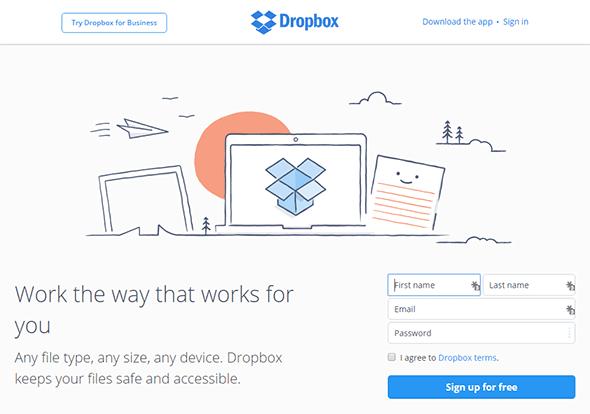 Homepage Dropbox