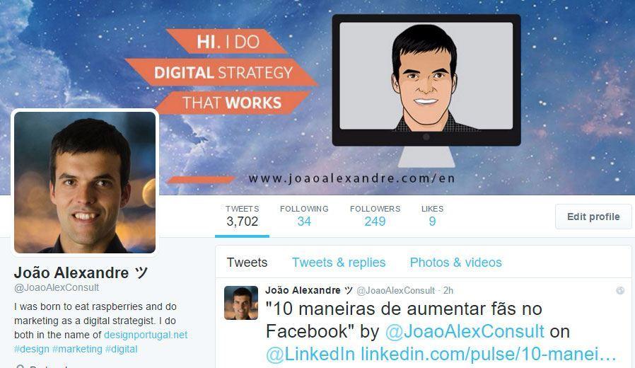 Conta twitter de João Alexandre.