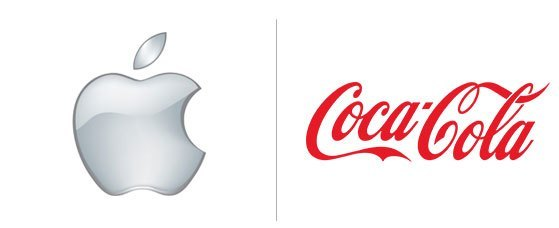 Logótipos da Apple e Coca Cola